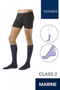 Sigvaris Essential Microfibre Male Class 2 Knee High Marine Compression Stockings