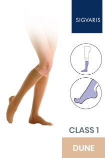 Sigvaris Essential Semitransparent Class 1 Knee High Dune Compression Stockings