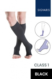 Sigvaris Essential Thermoregulating Unisex Class 1 Knee High Black Compression Stockings with Open Toe
