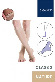 Sigvaris Essential Thermoregulating Unisex Class 2 Knee High Nature Compression Stockings with Knobbed Grip and Open Toe
