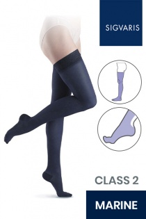 Sigvaris Essential Semitransparent Class 2 Thigh Marine Compression Stockings
