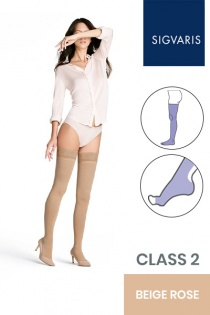 Sigvaris Style Opaque Class 2 Thigh Beige Rose Compression Stockings with Open Toe