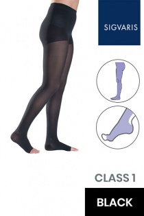 Sigvaris Style Semitransparent Class 1 Black Compression Tights with Open Toe