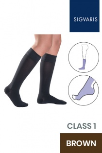 Sigvaris Style Semitransparent Class 1 Knee High Brown Compression Stockings with Open Toe