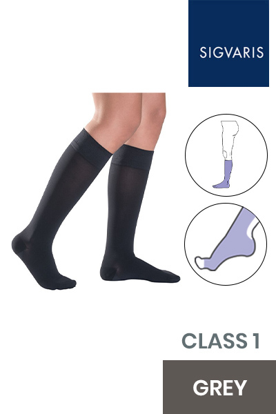 Sigvaris Style Semitransparent Class 1 Knee High Grey Compression Stockings with Open Toe