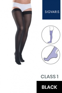 Sigvaris Style Semitransparent Class 1 Thigh Black Compression Stockings with Lace Grip Top