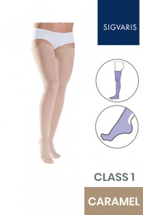 Sigvaris Style Semitransparent Class 1 Thigh Caramel Compression Stockings with Lace Grip