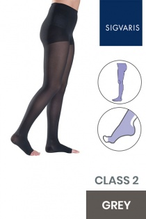 Sigvaris Style Semitransparent Class 2 Grey Compression Tights with Open Toe