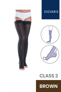 Sigvaris Style Semitransparent Class 2 Thigh Brown Compression Stockings with Lace Grip and Open Toe