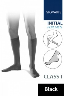 Sigvaris Initial Men's Class 1 Black Calf Compression Stockings