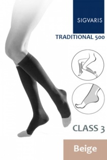 Sigvaris Traditional 500 Class 3 Calf Beige Compression Stockings with Open Toe