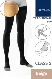 Sigvaris Traditional 500 Class 2 Beige Thigh Compression Stockings with Open Toe and Knobbed Grip Top