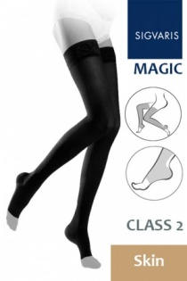 Sigvaris Magic Class 2 Skin Thigh Compression Stockings with Open Toe