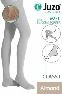 Juzo Soft Class 1 Almond Thigh Compression Stockings with Open Toe and Silicone Border