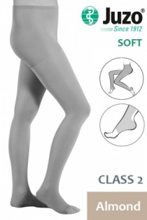 Juzo Soft Class 2 Almond Compression Tights with Open Toe