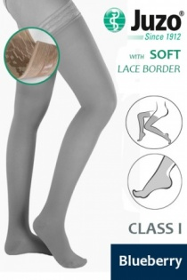Juzo Soft Class 1 Blueberry  Thigh Compression Stockings with Lace Border