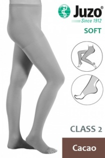 Juzo Soft Class 2 Cacao Compression Tights with Open Toe