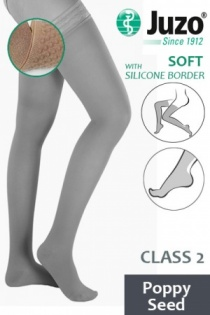 Juzo Soft Class 2 Poppy Seed Thigh Compression Stockings with Silicone Border