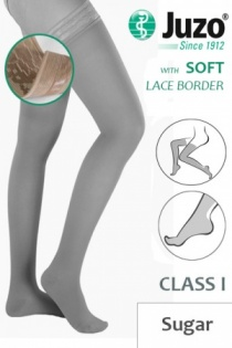 Juzo Soft Class 1 Sugar Thigh Compression Stockings with Lace Border