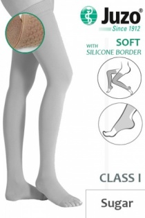 Juzo Soft Class 1 Sugar Thigh Compression Stockings with Open Toe and Silicone Border