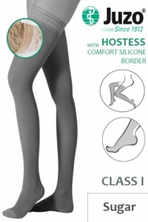 Juzo Hostess Class 1 Sugar Thigh High Compression Stockings with Comfort Silicone Border