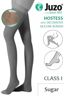Juzo Hostess Class 1 Sugar Thigh High Compression Stockings with Decorative Silicone Border