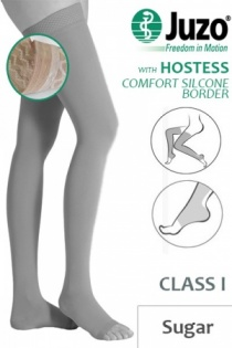 Juzo Hostess Class 1 Sugar Thigh High Compression Stockings with Open Toe and Comfort Silicone Border