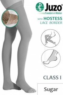 Juzo Hostess Class 1 Sugar Thigh High Compression Stockings with Open Toe and Lace Silicone Border