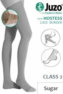 Juzo Hostess Class 2 Sugar Thigh High Compression Stockings with Open Toe and Lace Silicone Border