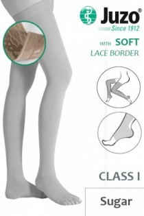 Juzo Soft Class 1 Sugar Thigh Compression Stockings with Open Toe and Lace Border