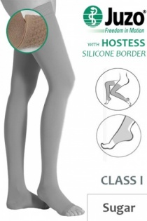 Juzo Hostess Class 1 Sugar Thigh High Compression Stockings with Open Toe and Silicone Border