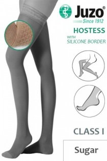 Juzo Hostess Class 1 Sugar Thigh High Compression Stockings with Silicone Border