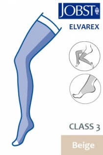 Jobst Elvarex Class 3 Beige Thigh High Compression Stockings with Open Toe