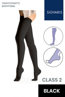 Sigvaris Essential Comfortable Unisex Class 2 Black Compression Bodyform Tights with Open Toe