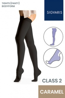 Sigvaris Essential Comfortable Unisex Class 2 Caramel Compression Bodyform Tights with Open Toe