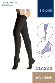 Sigvaris Essential Comfortable Unisex Class 2 Savannah Compression Bodyform Tights with Open Toe