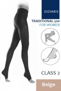 Sigvaris Traditional 500 for Women Class 2 Beige Compression Tights with Open Toe