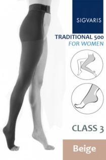 Sigvaris Traditional 500 Class 3 Beige Thigh Compression Stockings with Open Toe and Waist Attachment