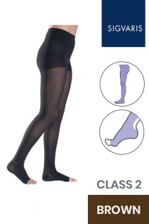 Sigvaris Style Semitransparent Class 2 Brown Compression Tights with Open Toe